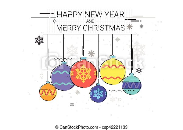 Toys hanging simple line sketch merry christmas happy new year ...