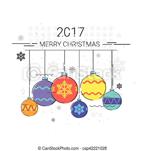 toys hanging simple line sketch merry christmas happy new year banner card outline csp42221028