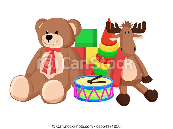Vector Stock - Teddy bear with cake. Stock Clip Art gg55197562 - GoGraph
