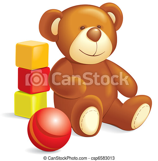 Toys - Teddy bear, cubes, ball - csp6583013