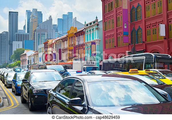 Bloqueo de tráfico de Singapur - csp48629459