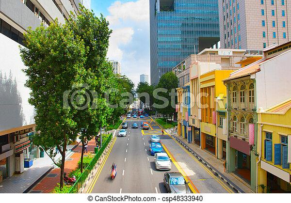 tráfico, camino, singapur - csp48333940