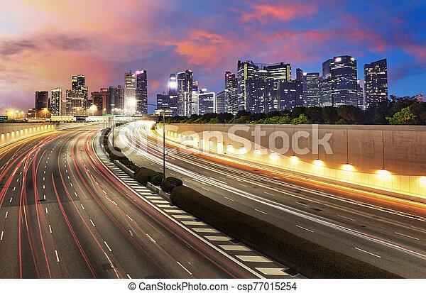 tráfico, financiero, céntrico, -, crepúsculo, singapur - csp77015254