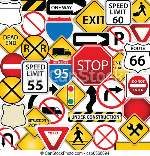 Ruta y señales de tráfico - csp6568694