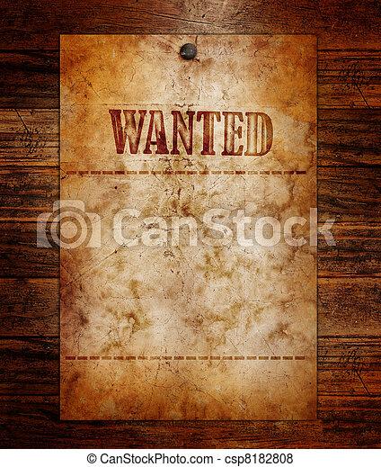 trä, årgång, viljat, vägg, affisch - csp8182808