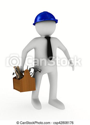 trä, avbild, isolerat, toolbox., man, 3 - csp42808176