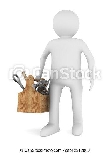 trä, avbild, isolerat, toolbox., man, 3 - csp12312800
