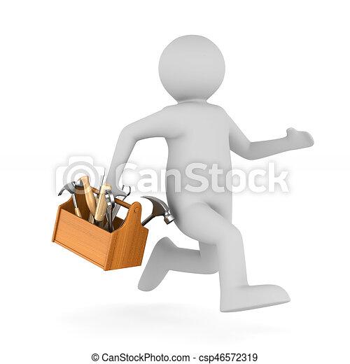 trä, isolerat, illustration, toolbox., man, 3 - csp46572319