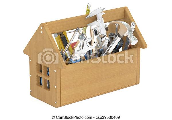 trä, redskapen, toolbox, 3, framförande - csp39530469