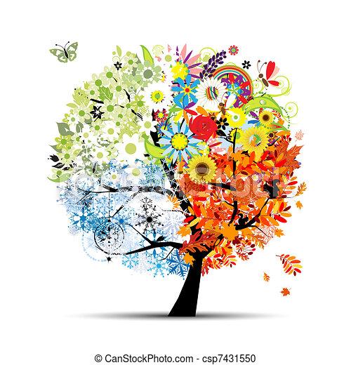 träd, din, fjäder, winter., kryddar, -, höst, sommar, konst, fyra, design, vacker - csp7431550