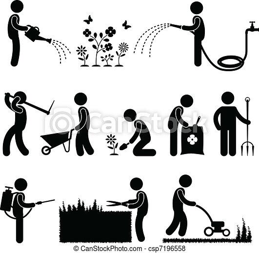 trädgårdsarbete, arbete, arbetare, trädgårdsmästare - csp7196558