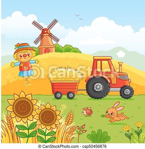 Tractor Trägt Ein Heu Tractor Trägt Ein Heu In Einem Karren