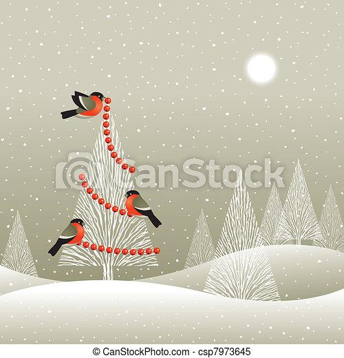 træ christmas, skov, vinter - csp7973645