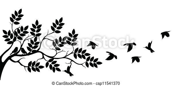 træ, flyve, silhuet, fugle - csp11541370