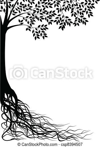 træ, silhuet - csp8394507