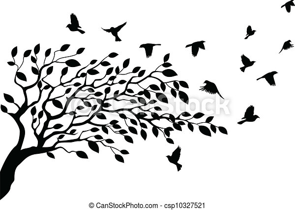 træ, silhuet, fugl - csp10327521