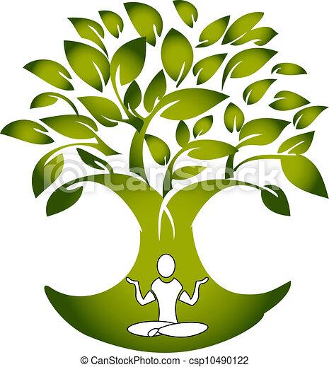 træ, vektor, yoga, figur, logo - csp10490122