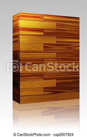 træagtig æske, fliser, parquet, pakke - csp2007924