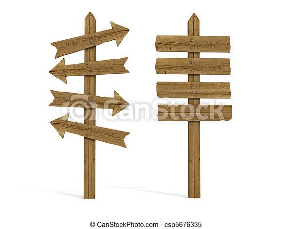 træagtig post, gamle, to, tegn - csp5676335