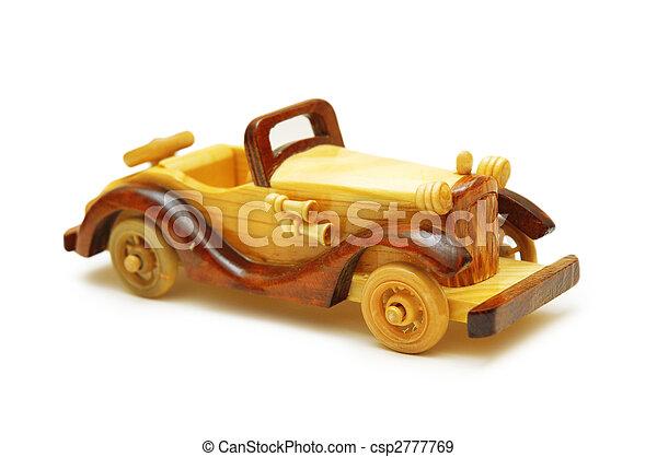 træagtig vogn, isoleret, retro, model, hvid - csp2777769