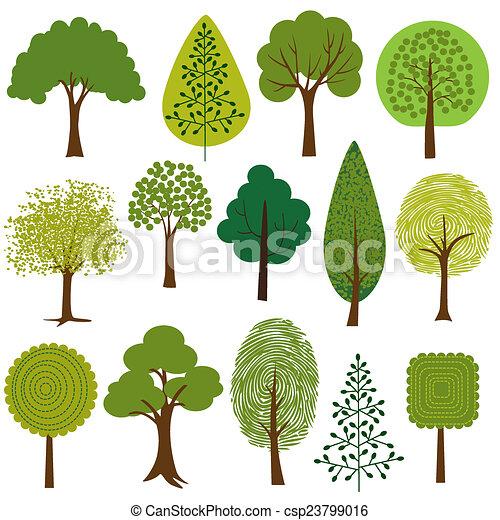 træer, clipart - csp23799016