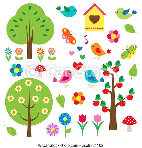 træer., vektor, sæt, fugle - csp9784102