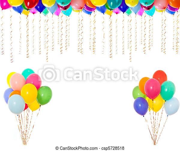 très, résolution, isolé, élevé, blanc, coloré, ballons - csp5728518