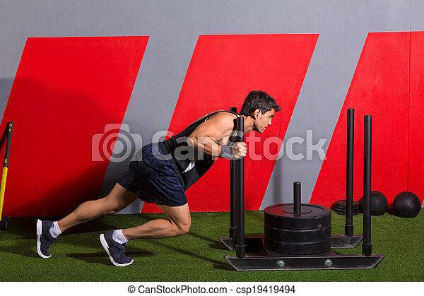 tréning, rámenős, szánkó, mér, tol, gyakorlás, ember - csp19419494