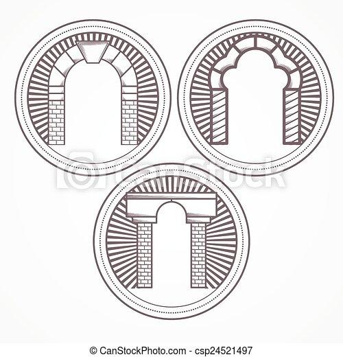 três, ilustração, vetorial, tijolo, arco, tipos, ícone - csp24521497