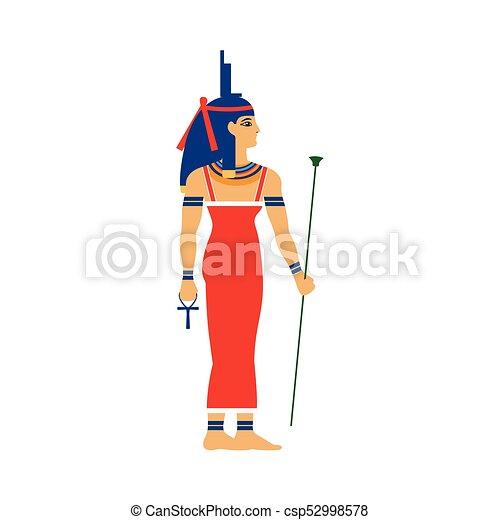 Trone Deesse Egypte Antique Isis Coiffure Trone Plat Deesse