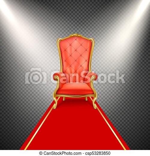 trône, réaliste, vecteur, chaise, moquette rouge - csp53283850