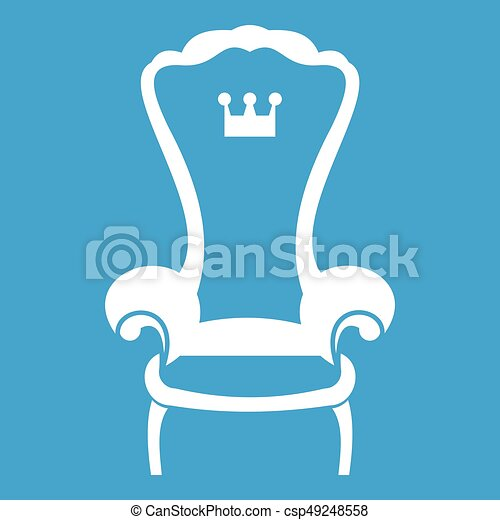 tr ne roi chaise blanc ic ne tr ne roi bleu isol clipart vectoriel rechercher. Black Bedroom Furniture Sets. Home Design Ideas