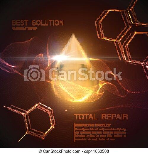 tröpfchen, oel, substanz, kollagen, serum, oder - csp41060508
