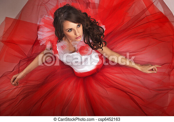tröttsam, söt, brunett, klänning, röd - csp6452163