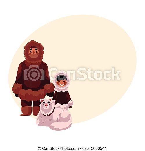 Traîneau Chien Fils Chaud Inuit Père Esquimau Vêtements