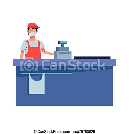 trabajador, cara, supermercado, máscara - csp79780826