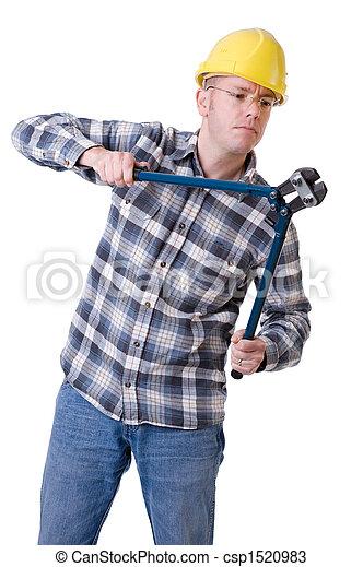 Trabajador de construcción con cortapernos - csp1520983
