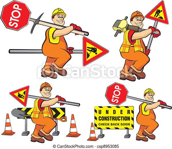 Trabajador de carreteras en construcción - csp8953085