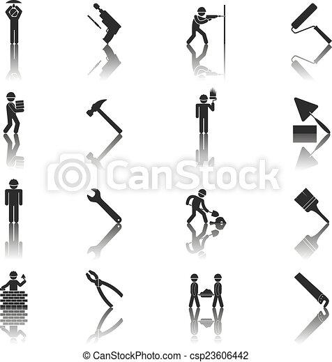 iconos de obreros - csp23606442