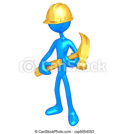 trabajador, construcción, martillo - csp5054053