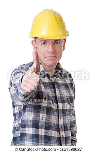 Trabajador de construcción con pulgares arriba - csp1598627