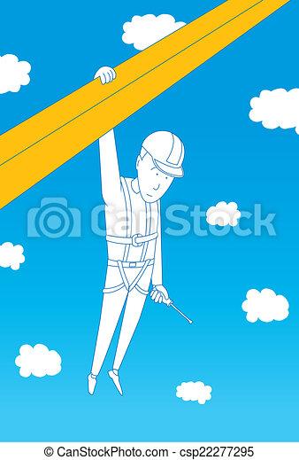 Trabajador colgando de la construcción - csp22277295