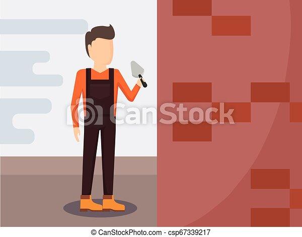 Trabajador de construcción con espátula - csp67339217
