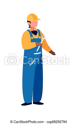 Trabajador de construcción con carácter de llave inglesa - csp68256794