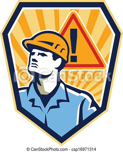 Contratista constructor con precaución firma retro - csp16971314