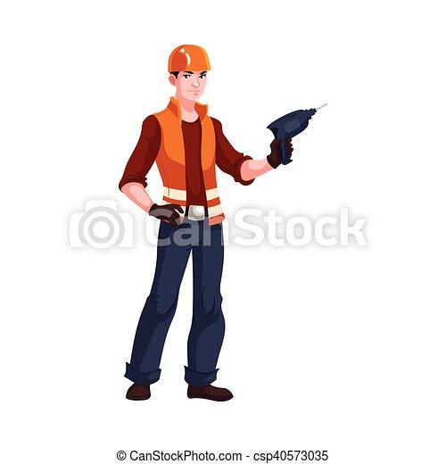 Joven y guapo trabajador industrial con un taladro - csp40573035