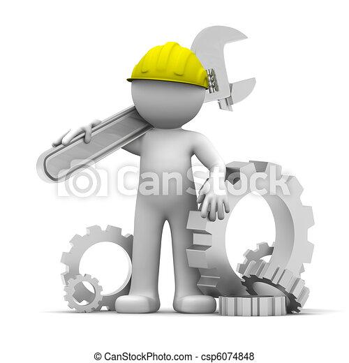 3D trabajador industrial con llave inglesa - csp6074848