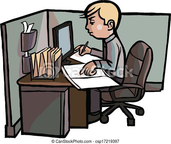 Trabajador libro examina caricatura oficina el suyo for Imagenes de oficina de trabajo