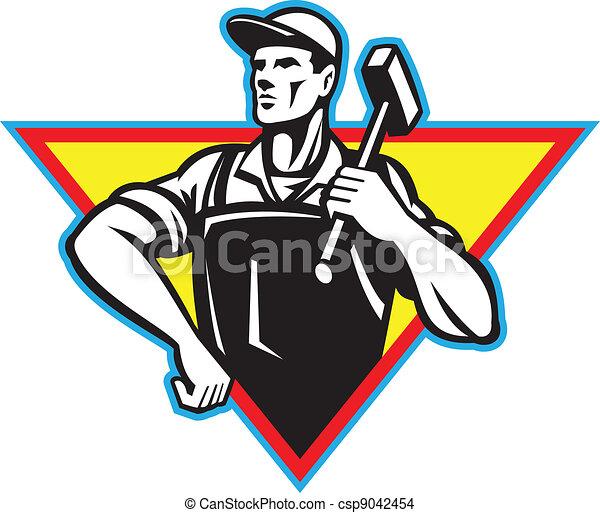 Trabajador con martillo retro - csp9042454
