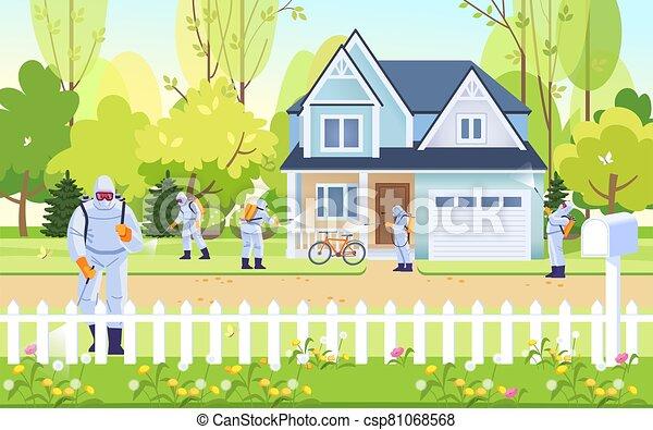trabajadores, camino, house., ilustración, gente, protector, disinfection., calle, disinfecting., desinfectante, máscara, trajes, caricatura, esterilizar, virus, vector, coronavirus - csp81068568